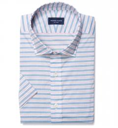 Albini Red Blue Horizon Stripe Custom Made Shirt