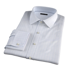 Lazio Light Blue 100s Border Grid Fitted Dress Shirt