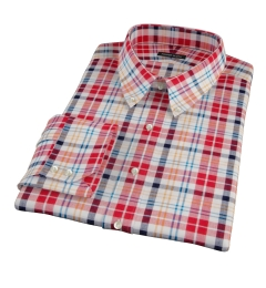 Red Orange Blue Madras Men's Dress Shirt
