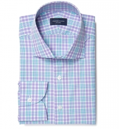 Amalfi Lavender and Green Multi Check Fitted Shirt