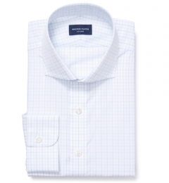 Verona Light Blue 100s Border Grid Fitted Dress Shirt