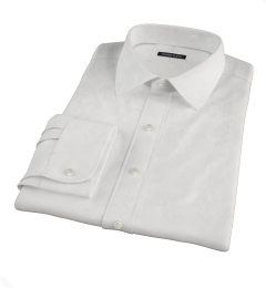 Canclini Peached White Stretch Twill Fitted Shirt