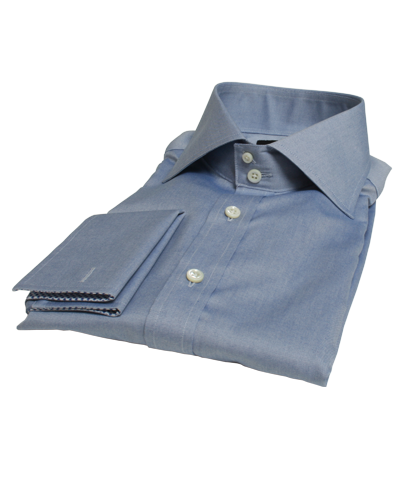 Navy Wrinkle Resistant Pinpoint Fitted Dress Shirt