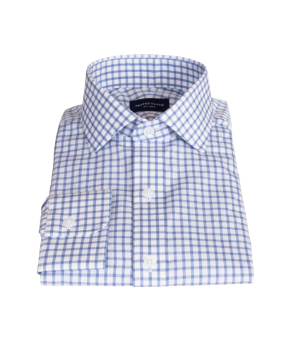 Thomas Mason Dark Blue Grid Dress Shirt