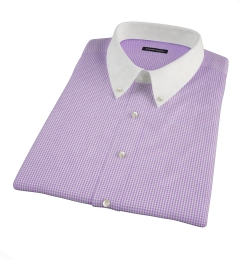 Canclini 120s Lavender Mini Gingham Short Sleeve Shirt
