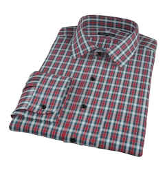 Red and Blue Block Plaid Men's Dress Shirt