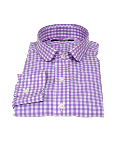 Light Purple Gingham Men's Dress Shirt