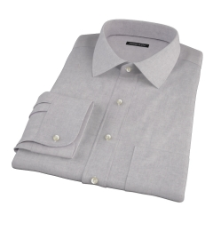 Light Grey Heathered Flannel Fitted Dress Shirt