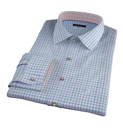 Thomas Mason Green and Lavender Multi Check Custom Dress Shirt