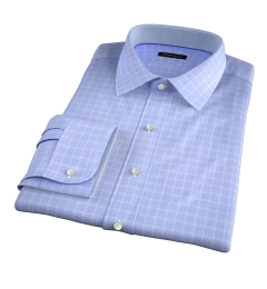 Firenze 120s Sky Blue Multi Grid Men's Dress Shirt