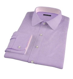 Carmine Lavender Mini Check Dress Shirt