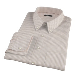 Tan Cotton Linen Gingham Fitted Dress Shirt