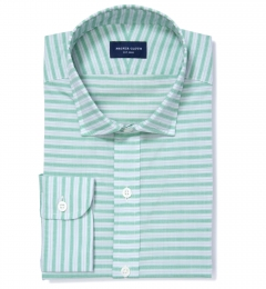 Albini Green Grey Horizon Stripe Dress Shirt