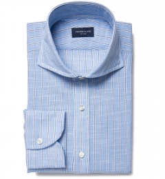 Canclini Blue Slub Stripe Custom Dress Shirt