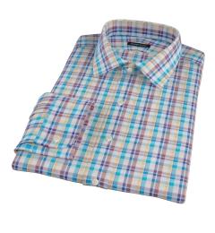 Aqua Brown Cotton Linen Check Men's Dress Shirt