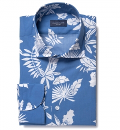 Positano Blue Floral Print Tailor Made Shirt