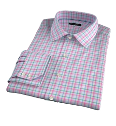 Thomas Mason Pink Spring Plaid Fitted Dress Shirt