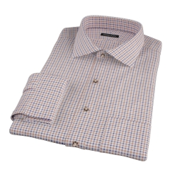 Canclini Brown Blue Tattersall Flannel Tailor Made Shirt