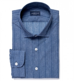 Katazome Faded Ladder Stripe Print Fitted Shirt