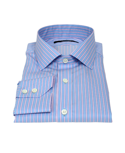 Albini Blue and Pink Stripe Men's Dress Shirt 