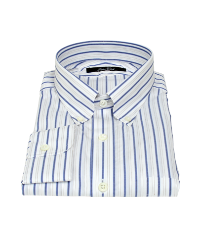 Blue and Brown Satin Stripe Fitted Dress Shirt 