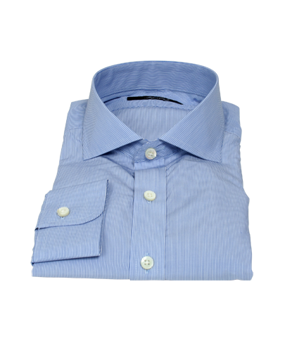 Albini Blue Fine Stripe Custom Dress Shirt 