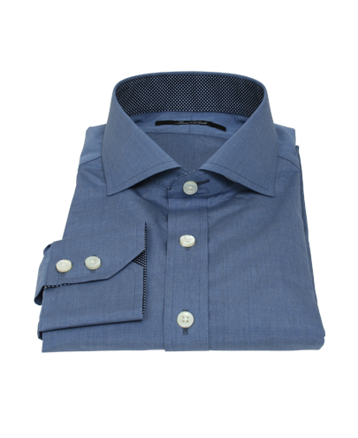 Dark Blue End on End Fitted Dress Shirt