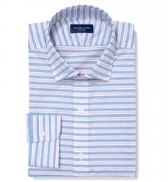 Albini Red Blue Horizon Stripe Men's Dress Shirt