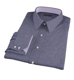 Slate Blue Heathered Flannel Custom Dress Shirt