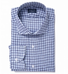 Canclini Navy Blue Check Linen Short Sleeve Shirt