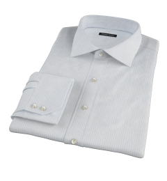 Light Blue 80s Grid Pinpoint Custom Made Shirt