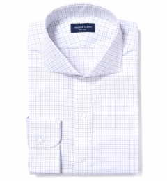 Mercer Blue Twill Check Dress Shirt