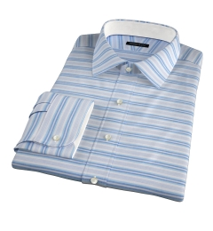 Albini Aqua Blue Horizon Stripe Custom Made Shirt