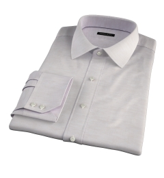 Portuguese Beige Cotton Linen Herringbone Fitted Dress Shirt