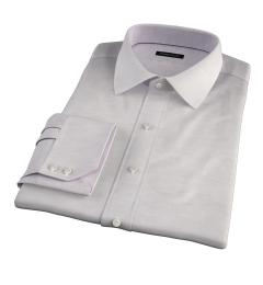 Portuguese Beige Cotton Linen Herringbone Fitted Dress Shirt