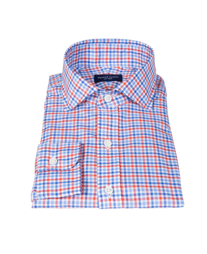 Thomas Mason Orange and Blue Check Men's Dress Shirt