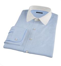 Greenwich Light Blue Mini Check Fitted Dress Shirt