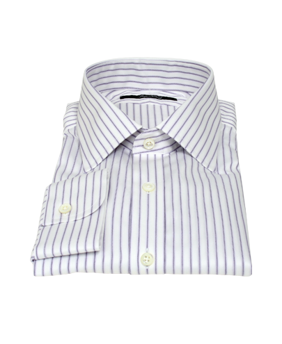 Japanese White and Lavender Custom Dress Shirt 