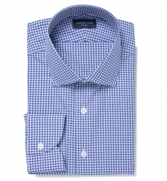Melrose 120s Royal Blue Mini Gingham Men's Dress Shirt