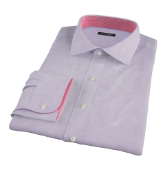 Thomas Mason 120s Lavender Mini Grid Fitted Shirt