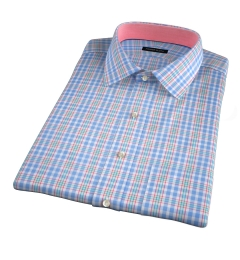 Amalfi Light Blue and Red Multi Check Short Sleeve Shirt