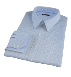 Thomas Mason Light Blue Glen Plaid Fitted Shirt
