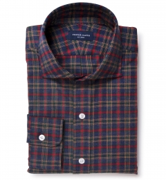 Red Lewis Plaid Flannel Custom Dress Shirt