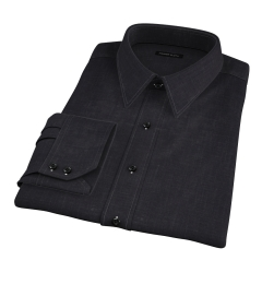 Japanese Black Slub Weave Custom Dress Shirt