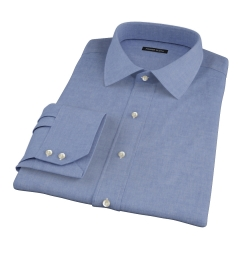 Albini Slate Blue Oxford Chambray Fitted Dress Shirt