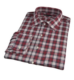 Japanese Red Donegal Tartan Fitted Dress Shirt