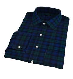 Canclini Luxury Blackwatch Flannel Fitted Dress Shirt