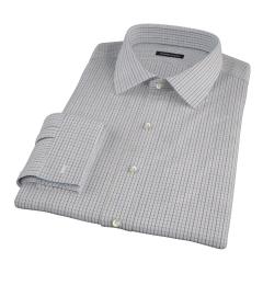 Brown Blue Tattersall Twill Custom Made Shirt