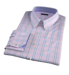 Adams Pink Multi Check Fitted Dress Shirt