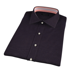 White on Black Printed Pindot Short Sleeve Shirt